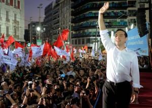 Alexis Tsipras, ieri sera in piazza Omonia ad Atene (newscity1.net)
