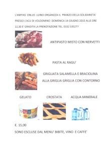 Il menu del pranzo sociale di domenica 14 giugno organizzato dall'Anffas di Luino
