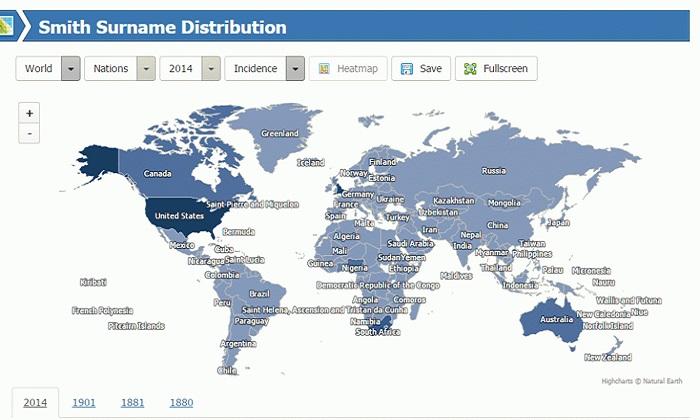 Cartina Mondiale Interattiva.La Diffusione Del Proprio Cognome Nel Mondo Ecco La Mappa