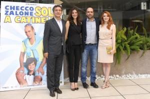 """Pietro Valsecchi, Aurore Erguy, Checco Zalone e Miriam Dalmazio insieme per """"Sole a catinelle"""" (tempi.it)"""