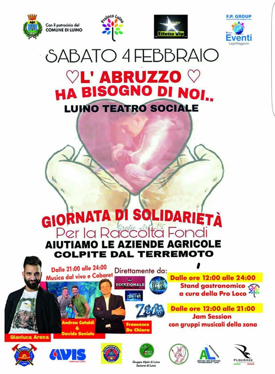 """Luino, """"L'Abruzzo ha bisogno di noi..."""": una dodici ore solidale all'insegna della musica e del cabaret"""